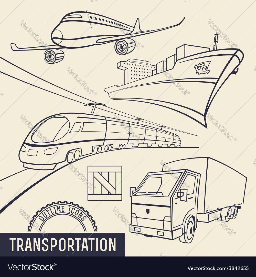 Transport outline icons vector | Price: 3 Credit (USD $3)
