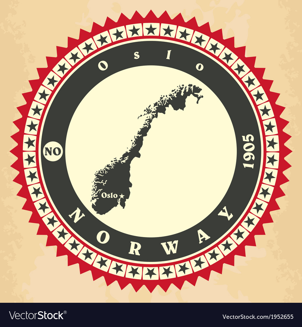 Vintage label-sticker cards of norway vector | Price: 1 Credit (USD $1)