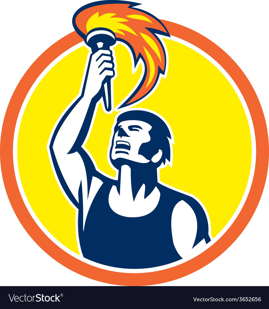 Athlete player raising flaming torch circle retro vector | Price: 1 Credit (USD $1)