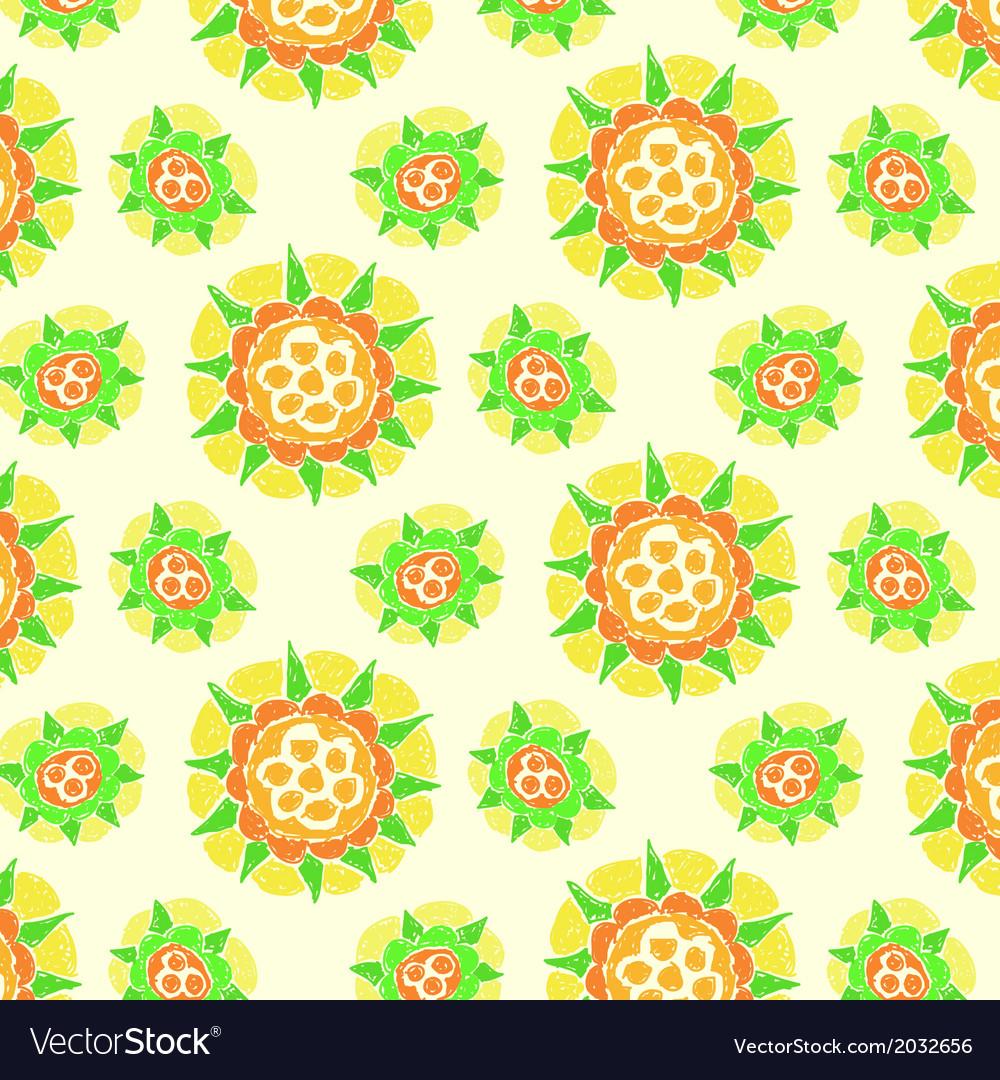 Bright flower pattern on dark green background vector | Price: 1 Credit (USD $1)