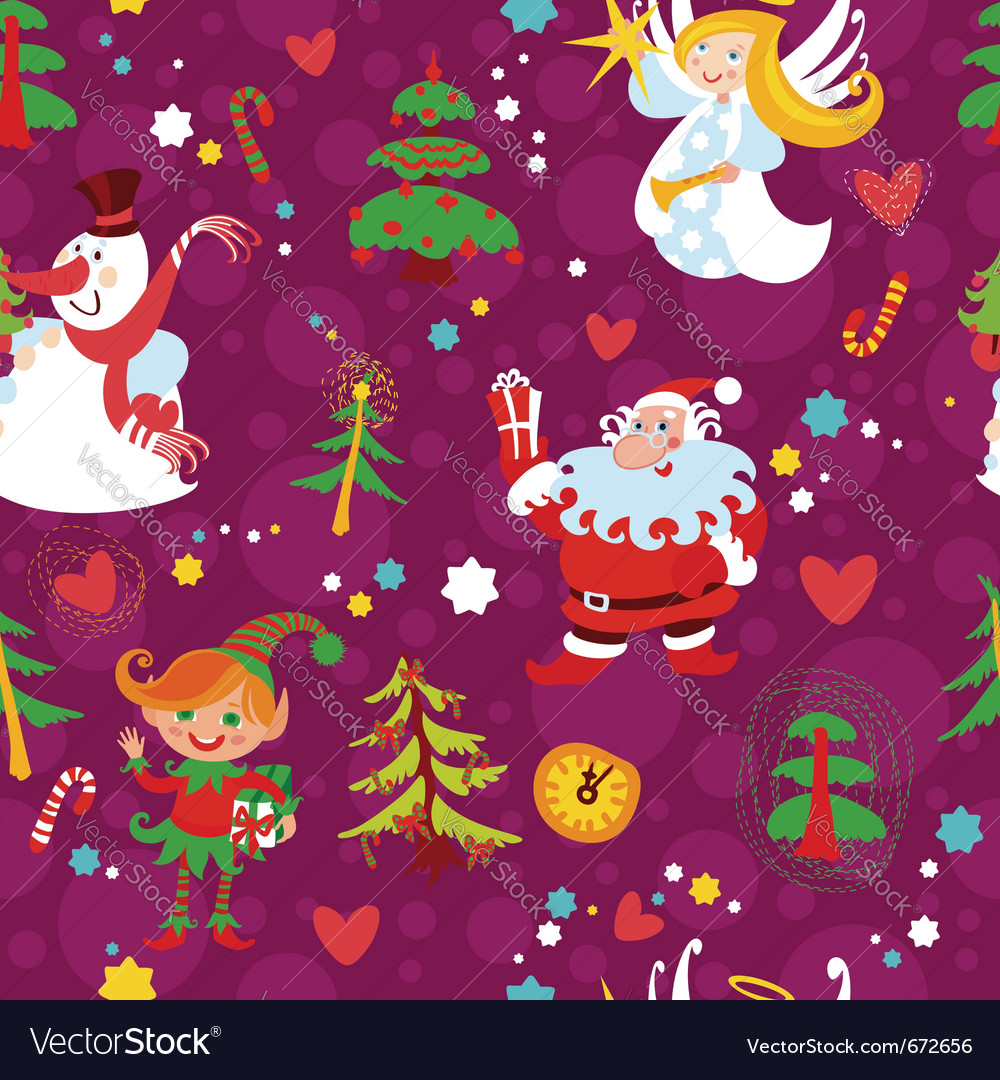 Christmas seamless wallpaper pattern vector | Price: 1 Credit (USD $1)