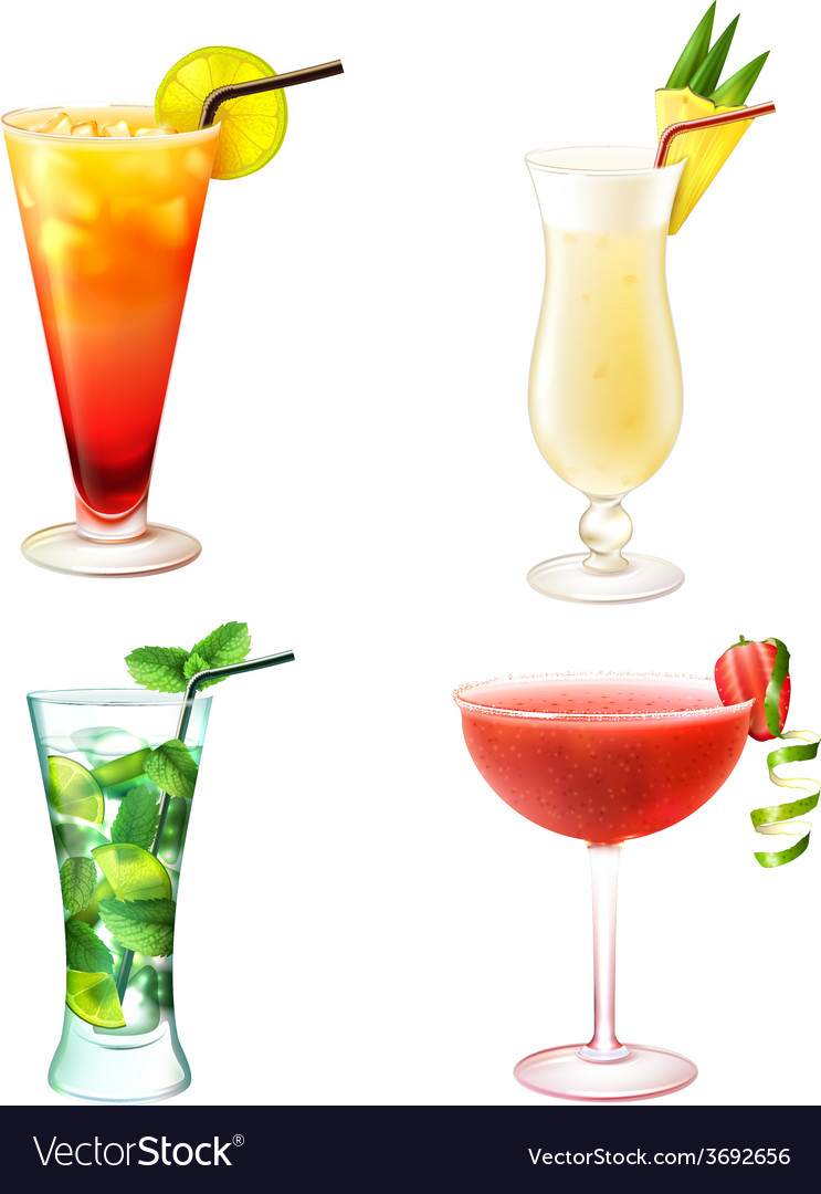 Cocktail realistic set vector | Price: 1 Credit (USD $1)