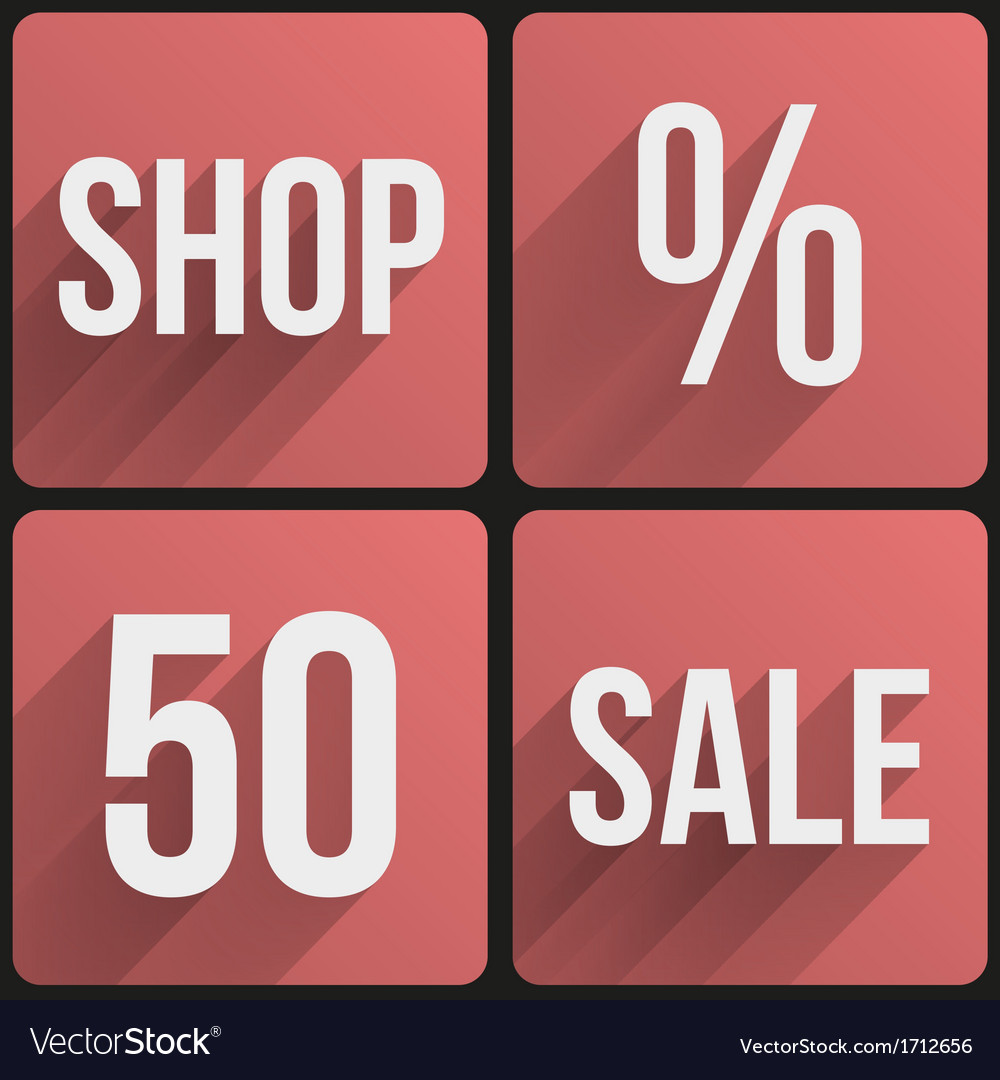 Flat icon set shop sale for web and application vector | Price: 1 Credit (USD $1)