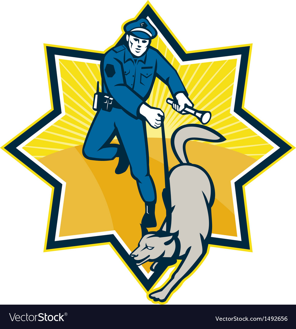Policeman police dog canine team vector | Price: 1 Credit (USD $1)