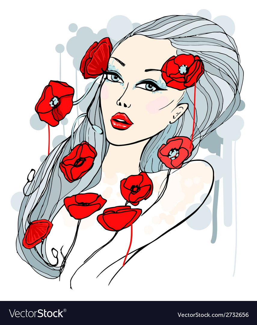 Portrait of beautiful young woman vector | Price: 1 Credit (USD $1)