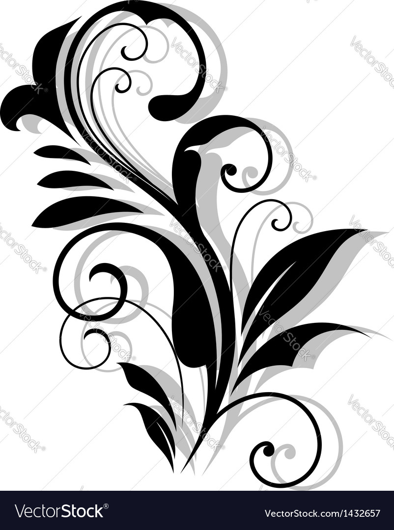 Curly floral embellishment vector | Price: 1 Credit (USD $1)
