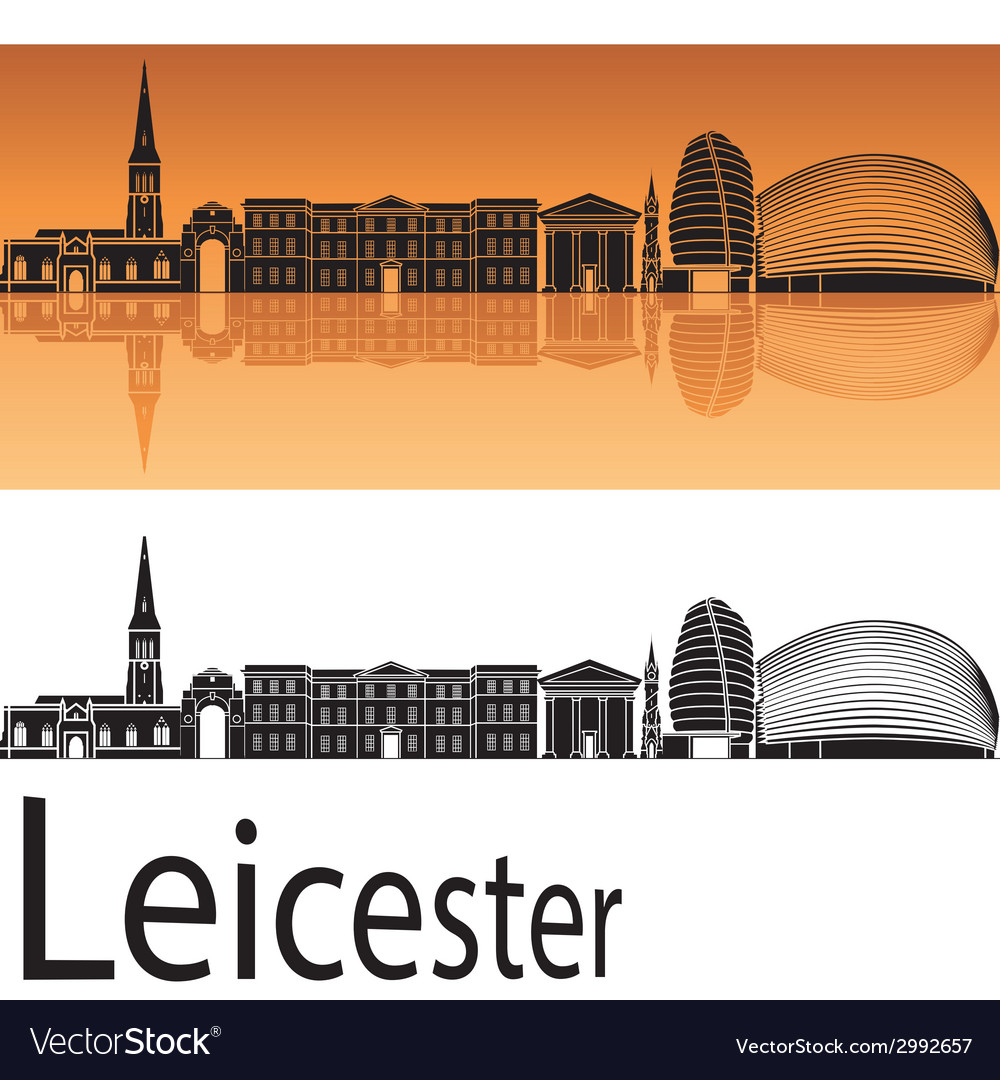 Leicester skyline in orange background vector | Price: 1 Credit (USD $1)