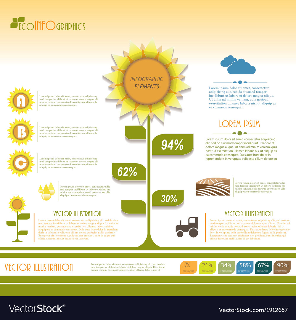 Modern infographic green template design vector | Price: 1 Credit (USD $1)