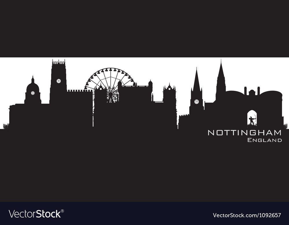 Nottingham england skyline detailed silhouette vector | Price: 1 Credit (USD $1)