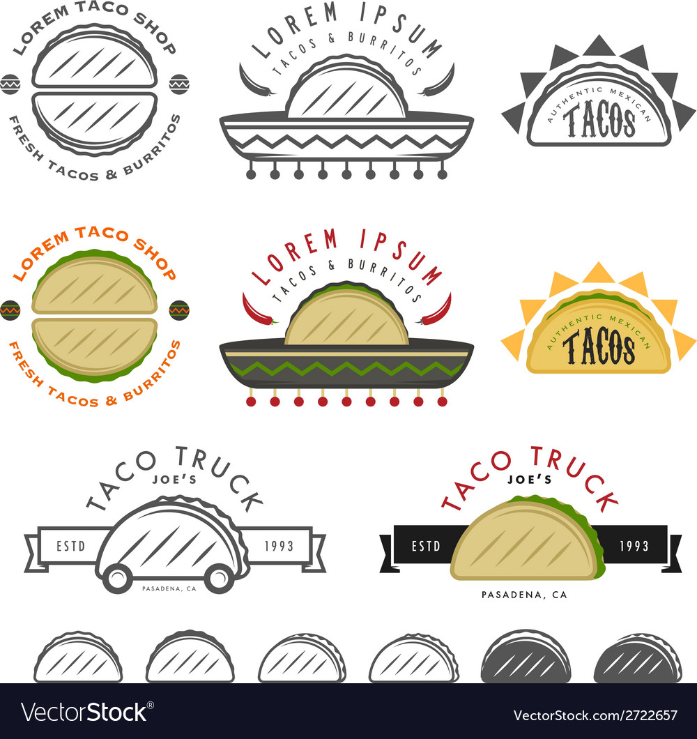 Retro mexican taco design elements vector | Price: 1 Credit (USD $1)