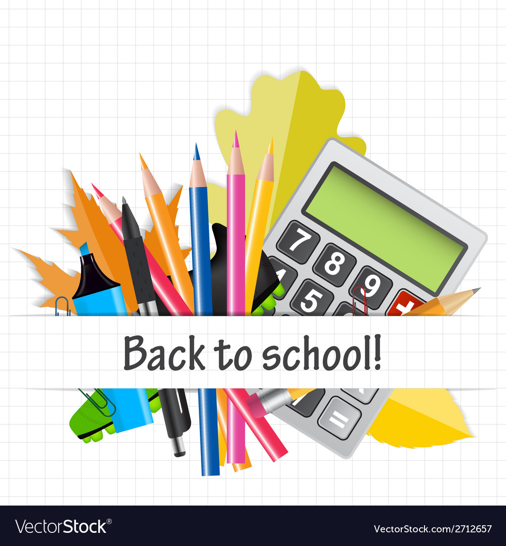 School theme background with different tools vector | Price: 1 Credit (USD $1)