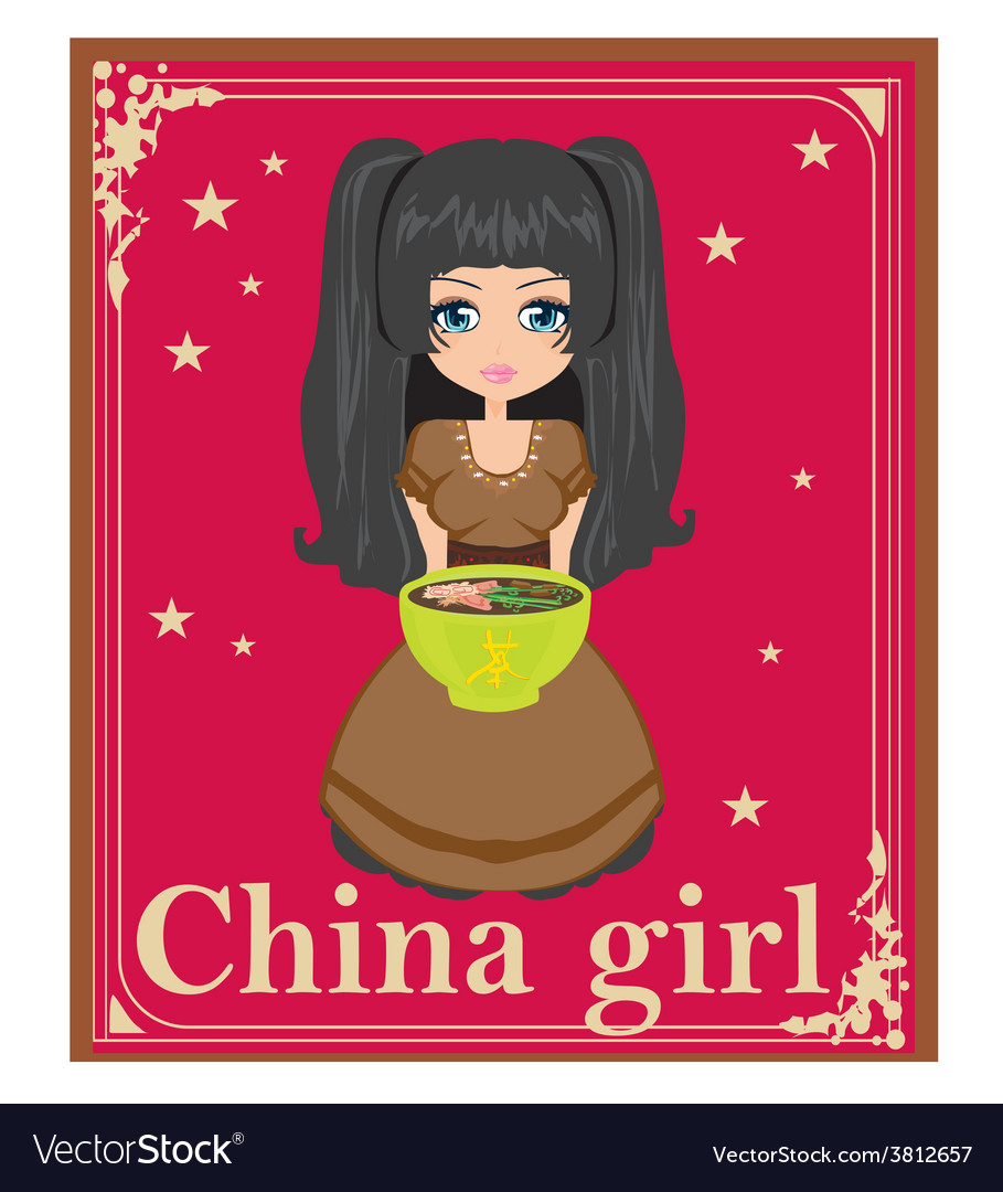 Sweet china girl enjoy soup vector | Price: 1 Credit (USD $1)
