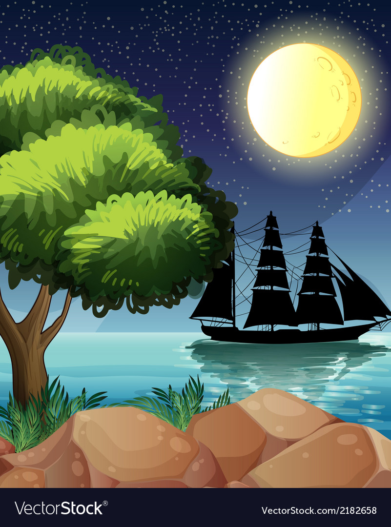 A black ship at the sea under the bright moon vector | Price: 3 Credit (USD $3)