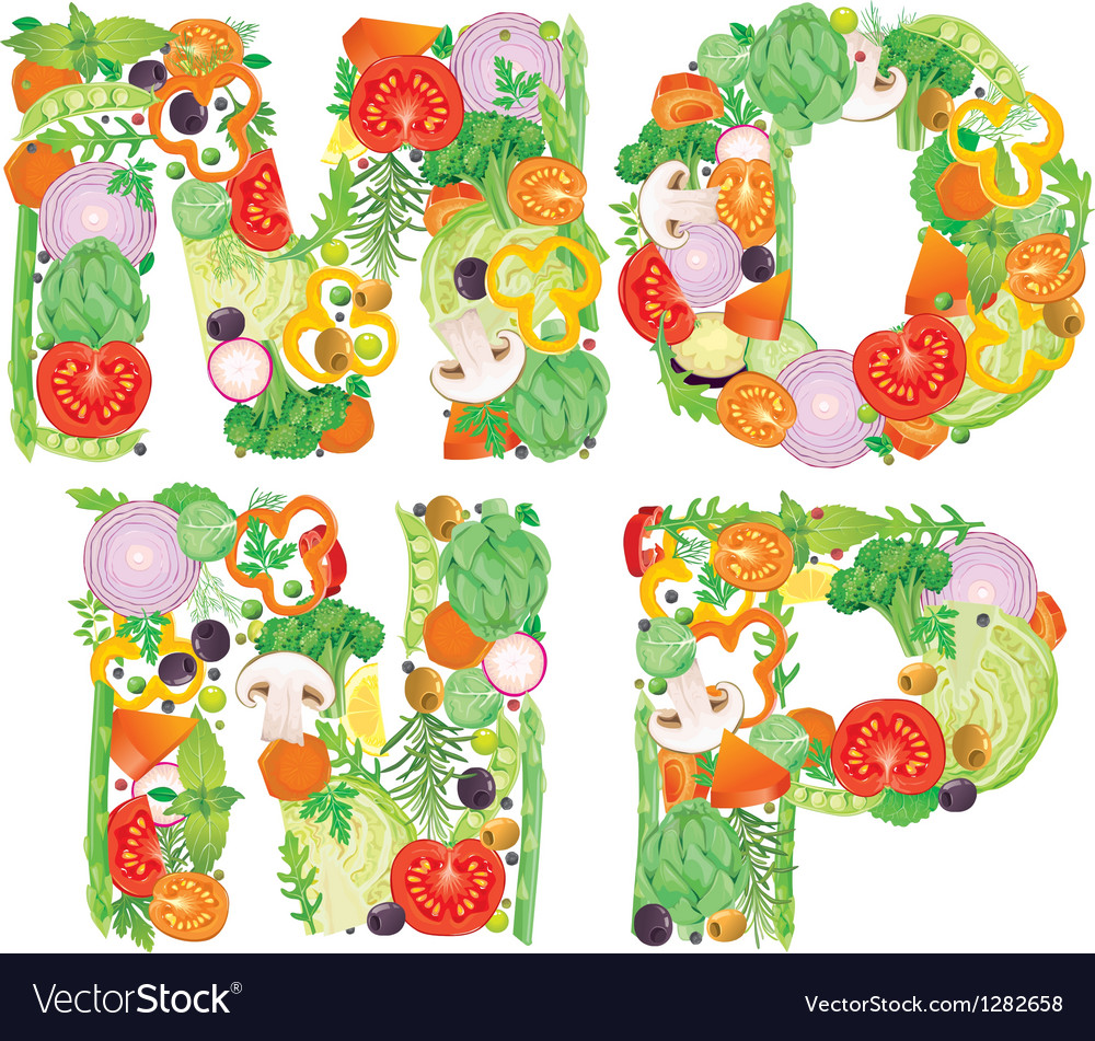 Alphabet of vegetables mnop vector | Price: 3 Credit (USD $3)