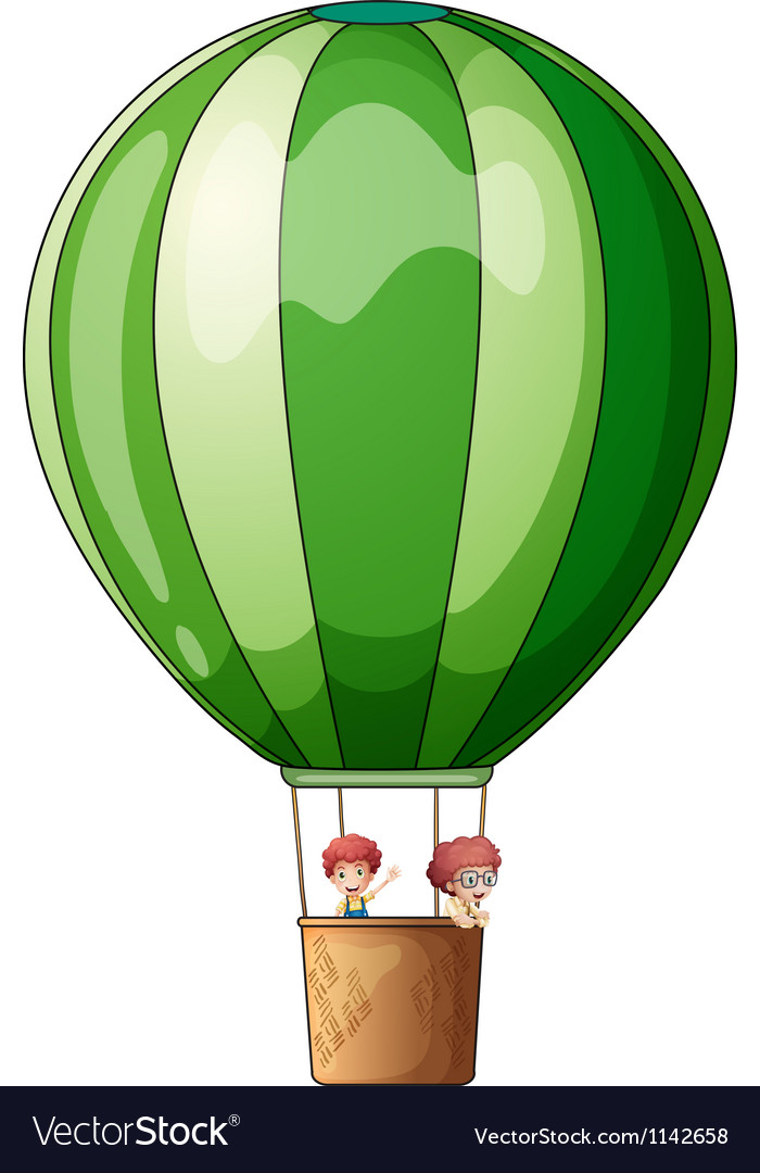 An air balloon flying with two kids vector | Price: 1 Credit (USD $1)