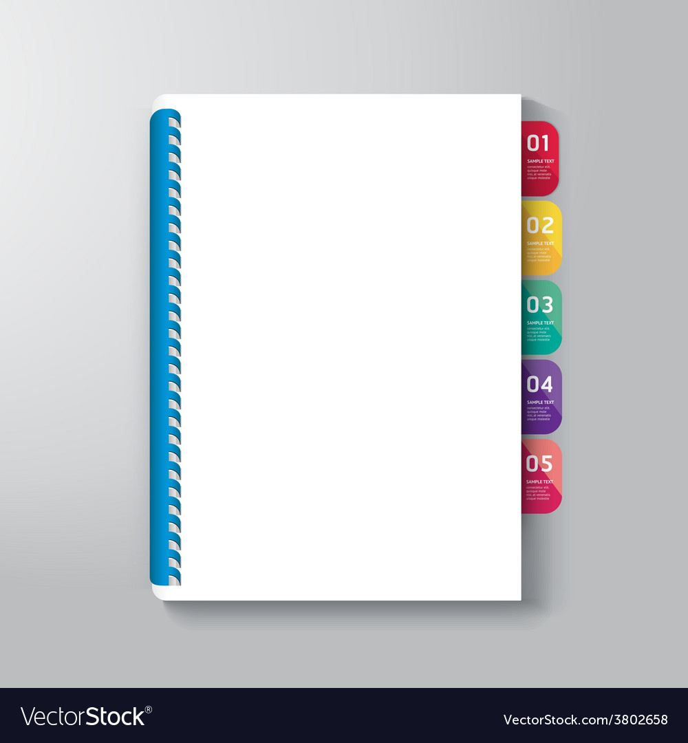Book cover with tab design style template vector | Price: 1 Credit (USD $1)