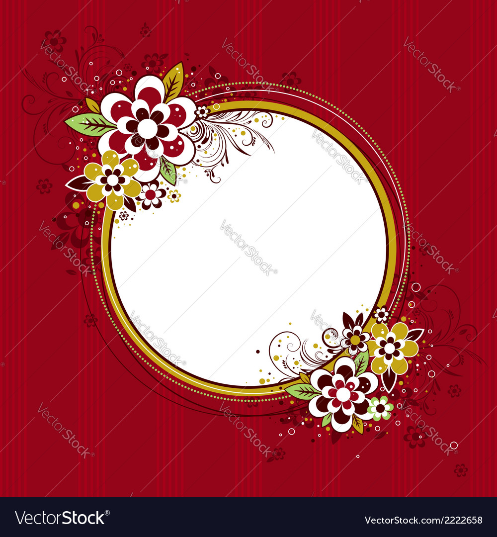 Circle frame with flowers on red background vector | Price: 1 Credit (USD $1)