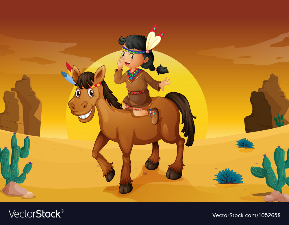 Girl and horse vector | Price: 3 Credit (USD $3)