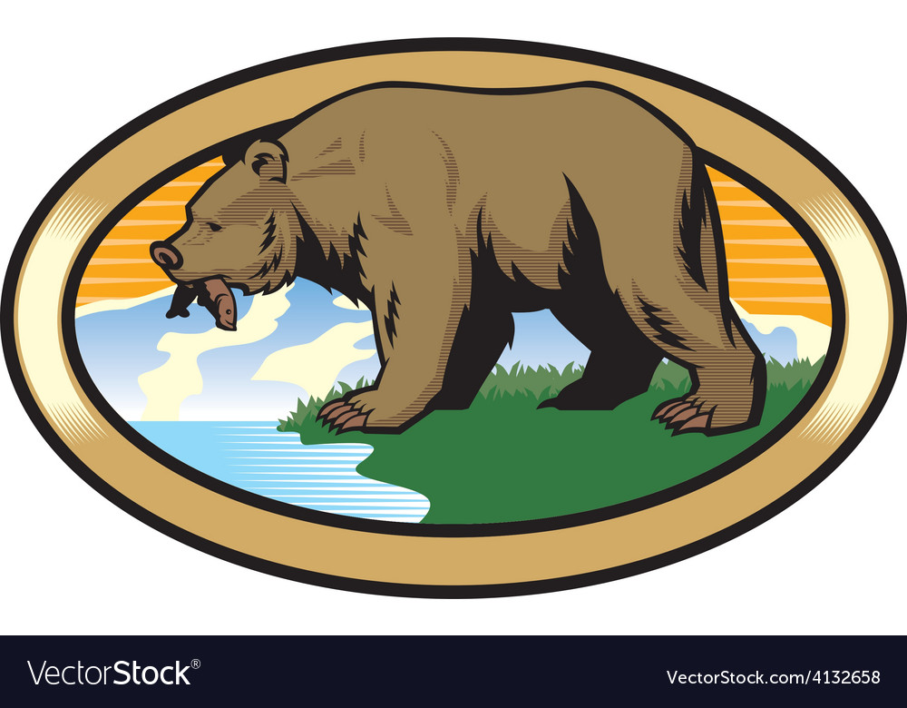 Grizzly bear at the nature vector | Price: 3 Credit (USD $3)