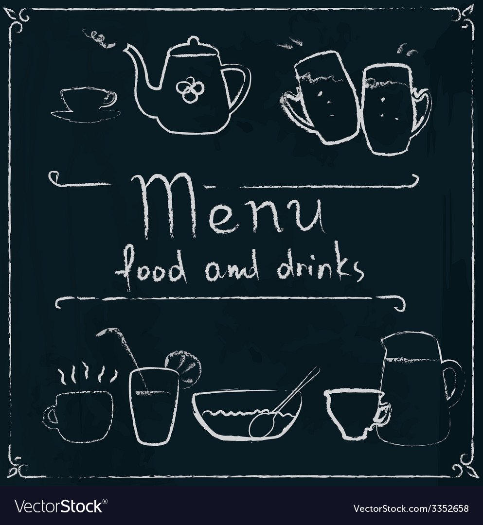 Hand drawn restaurant menu design on blackboard vector | Price: 1 Credit (USD $1)