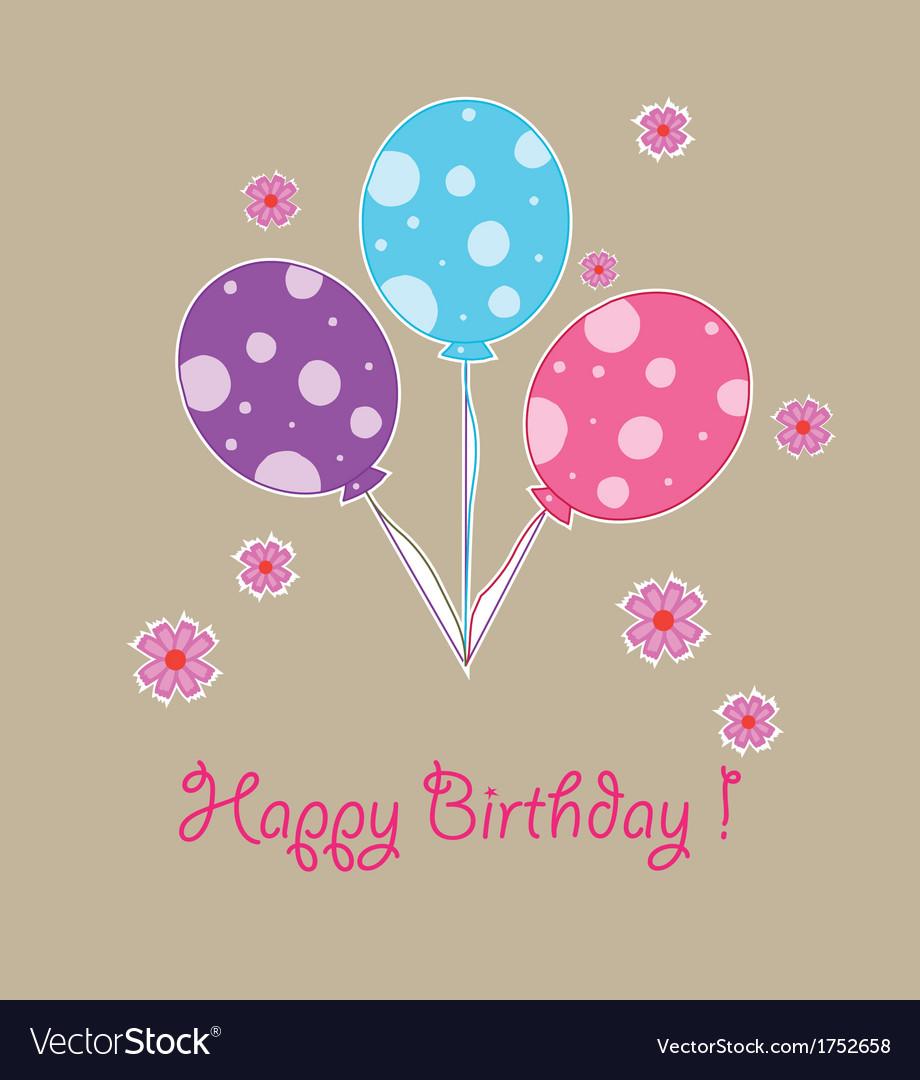 Happy birthday balloon three year old vector | Price: 1 Credit (USD $1)