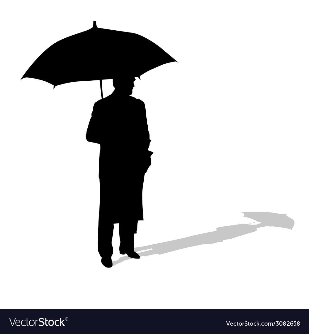 Man with umbrella silhouette vector | Price: 1 Credit (USD $1)