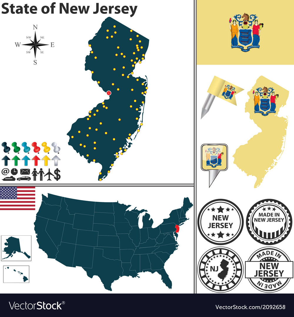Map of new jersey vector   Price: 1 Credit (USD $1)