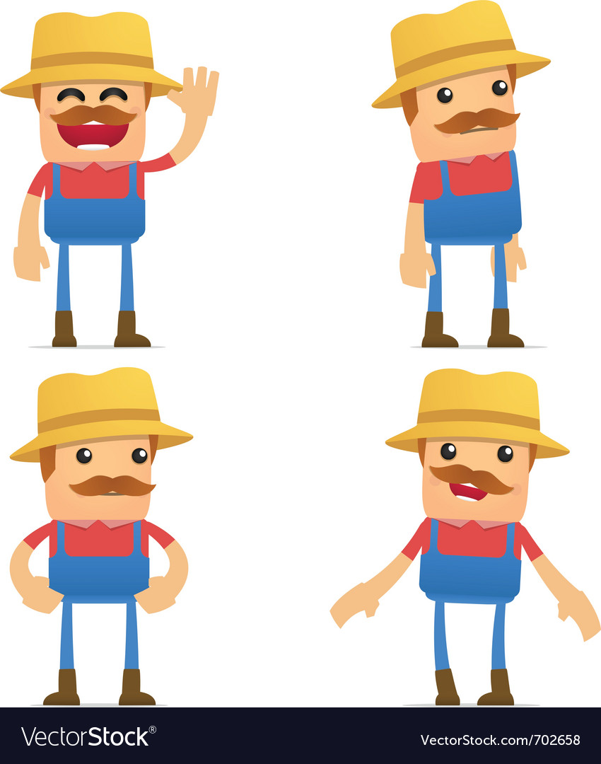 Set of funny cartoon farmer vector | Price: 3 Credit (USD $3)