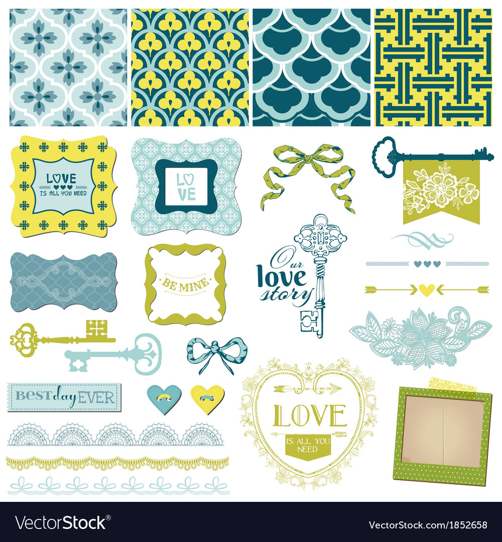 Vintage love and wedding set vector | Price: 1 Credit (USD $1)