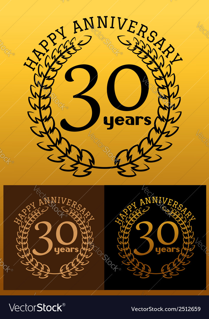 30 years anniversary signs with laurel wreaths vector | Price: 1 Credit (USD $1)