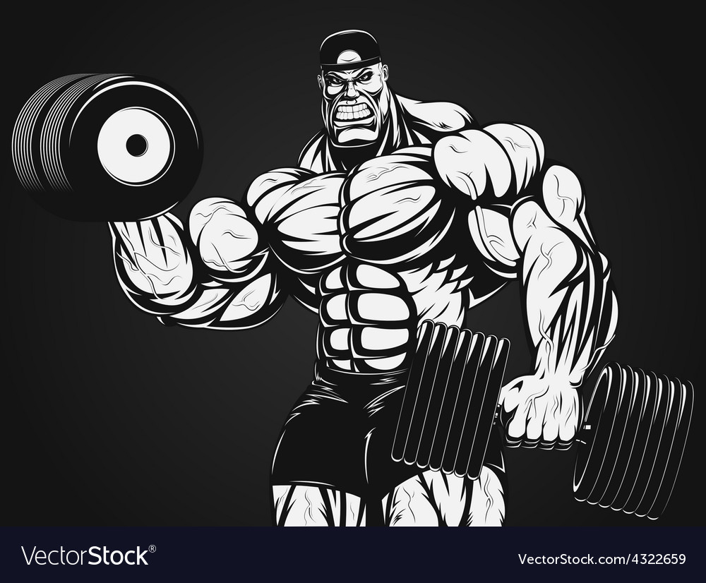 Bodybuilder with dumbbell vector | Price: 1 Credit (USD $1)