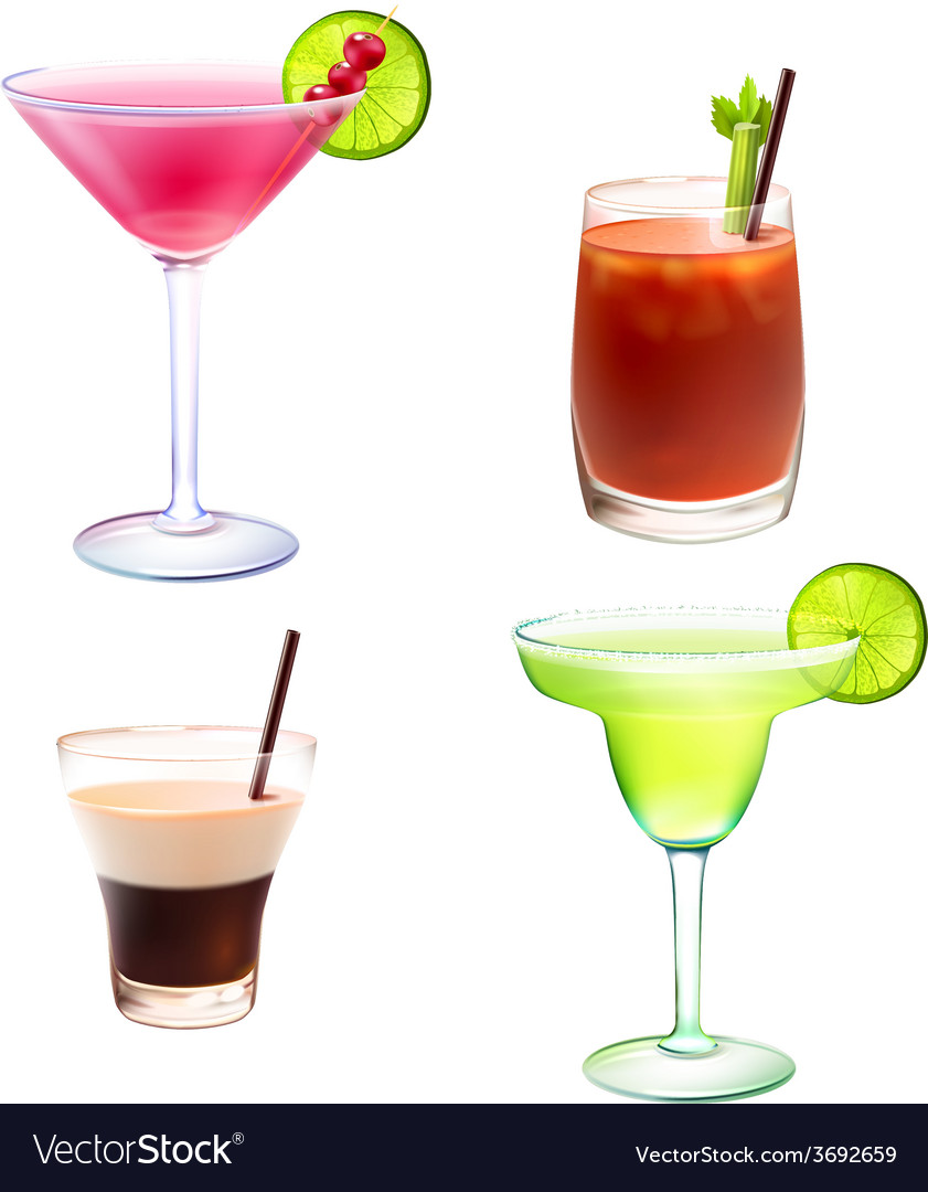 Cocktail realistic set vector | Price: 3 Credit (USD $3)
