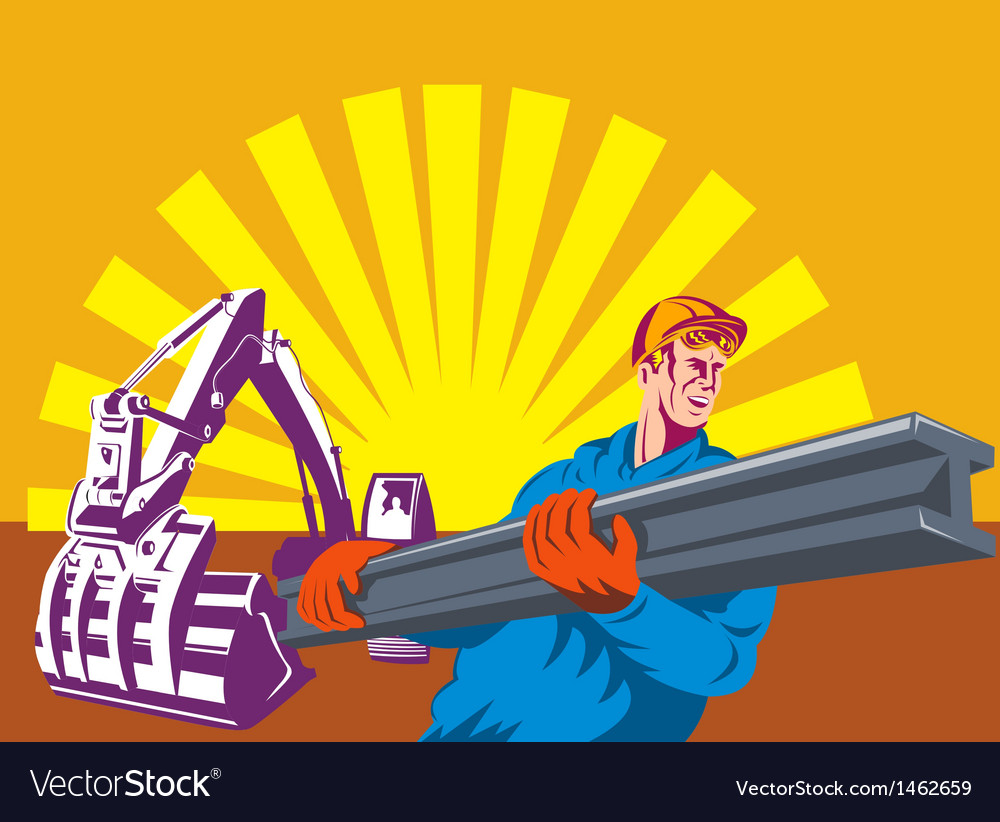 Construction worker at work with digger vector | Price: 1 Credit (USD $1)