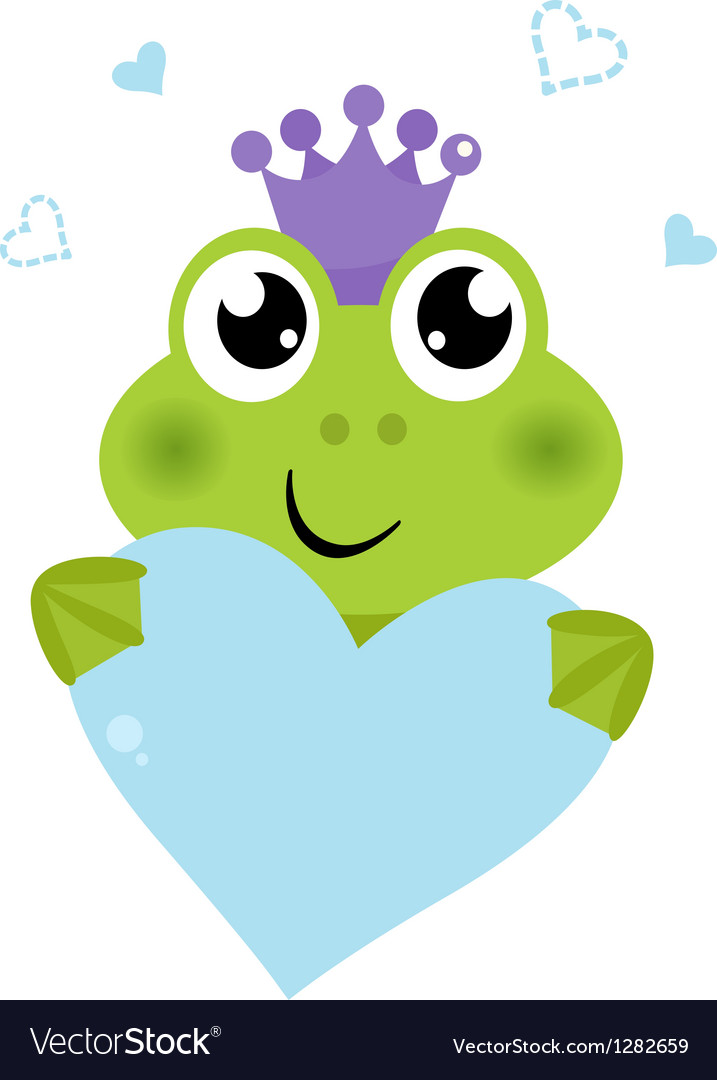 Cute frog holding heart isolated on white vector | Price: 1 Credit (USD $1)