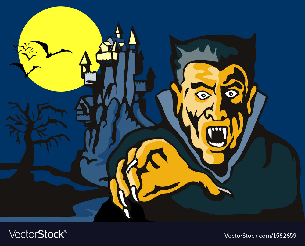 Dracula with castle vector | Price: 1 Credit (USD $1)