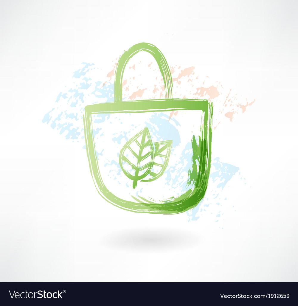 Eco bag grunge icon vector | Price: 1 Credit (USD $1)