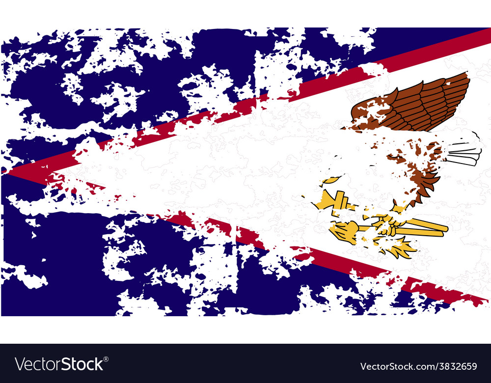 Flag of american samoa with old texture vector | Price: 1 Credit (USD $1)