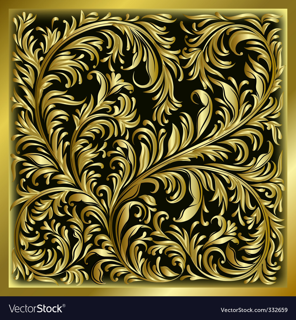 Gold floral ornament vector | Price: 3 Credit (USD $3)