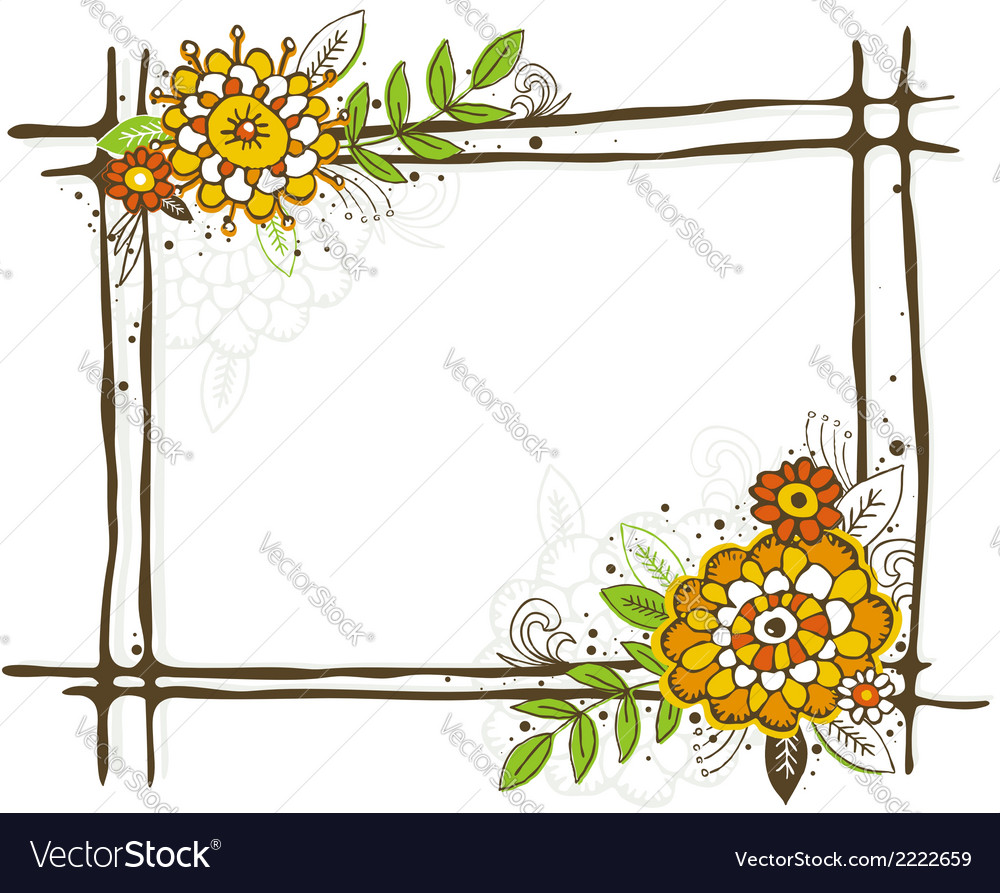 Hand draw frame with flowers on white background vector | Price: 1 Credit (USD $1)