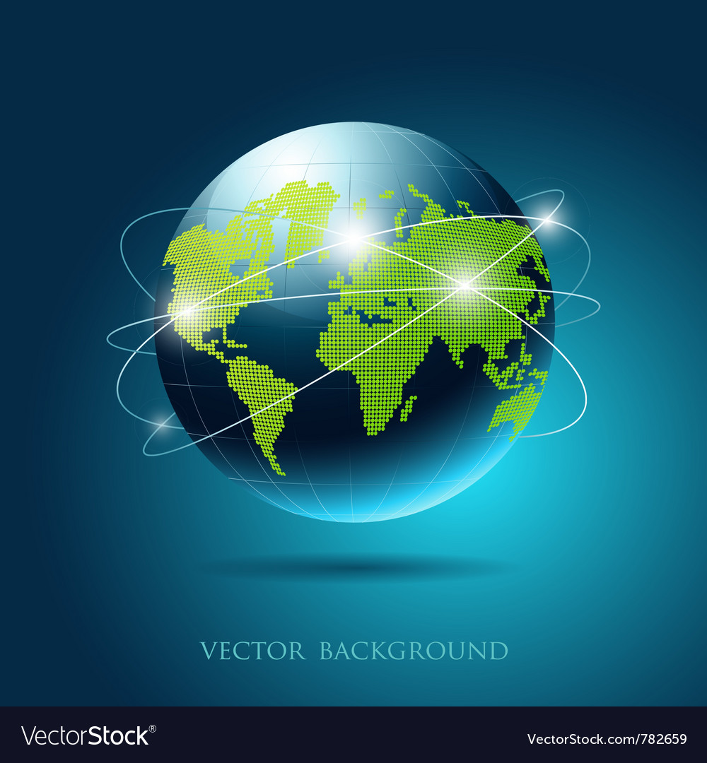 Modern globe network blue background vector | Price: 3 Credit (USD $3)