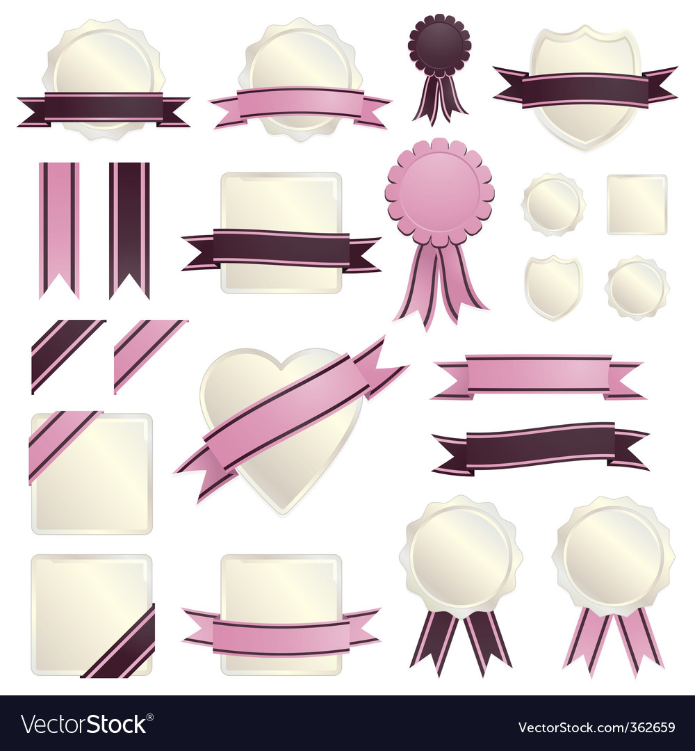 Pink ribbons and seals vector | Price: 1 Credit (USD $1)