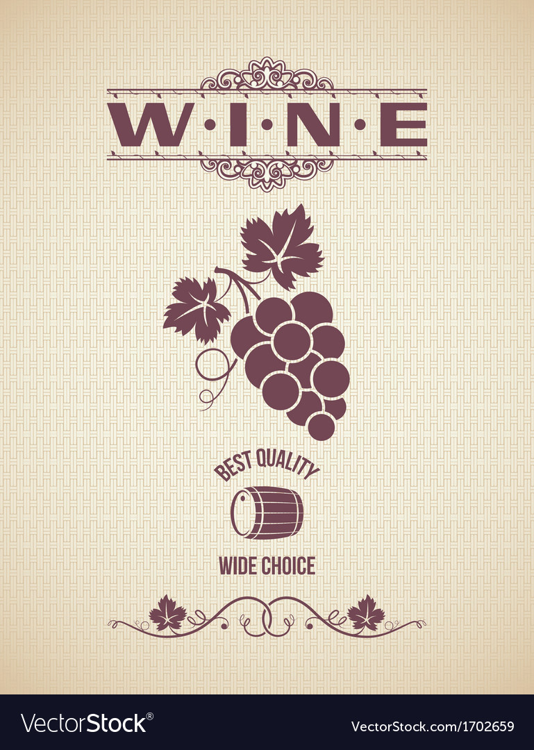 Wine vintage grapes label background vector | Price: 1 Credit (USD $1)