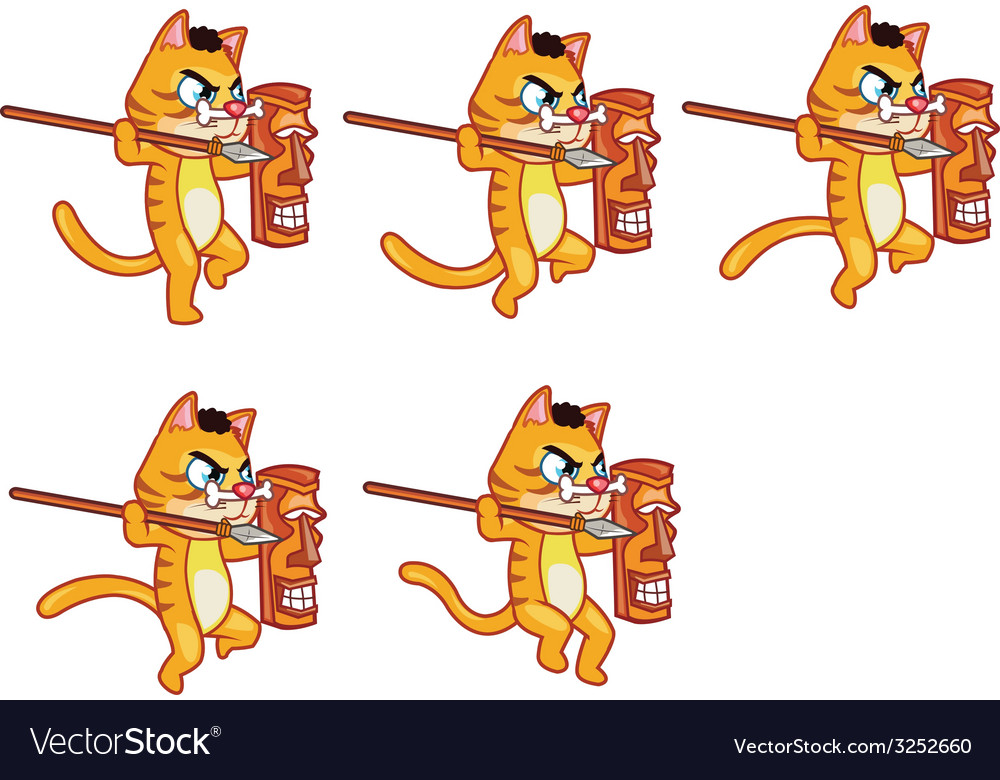 Cannibal cat jumping sprite vector | Price: 1 Credit (USD $1)