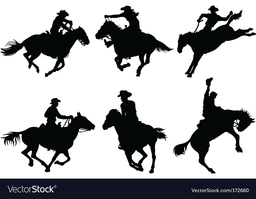 Cowboys silhouettes vector | Price: 1 Credit (USD $1)