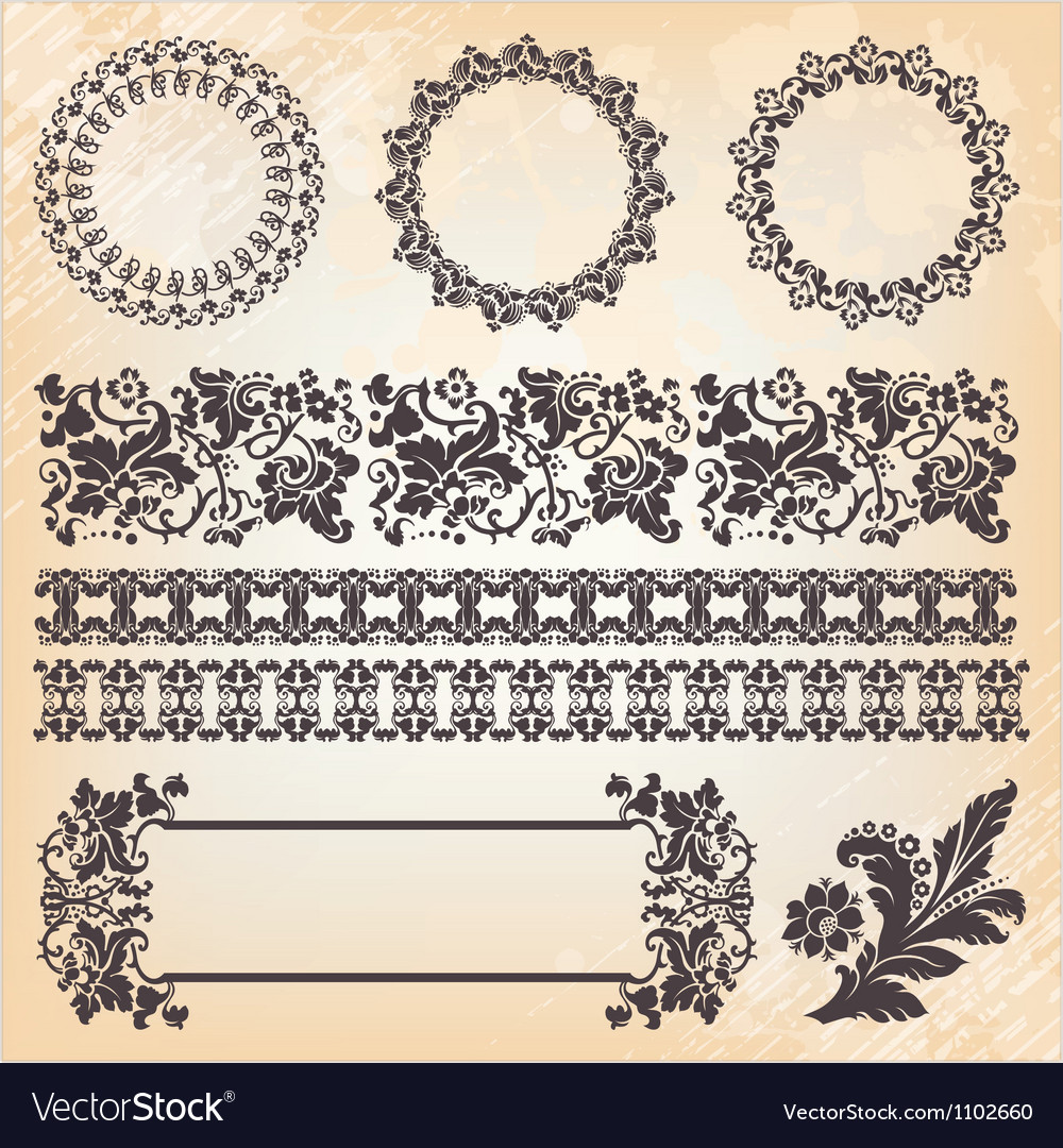 Set of ornate page decor elements borders banner vector | Price: 1 Credit (USD $1)