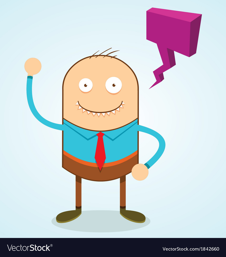 Weird guy with speech bubble vector | Price: 1 Credit (USD $1)