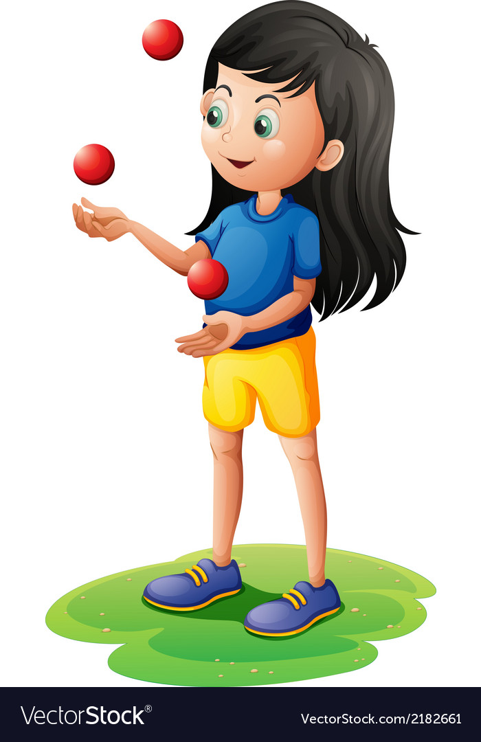 A girl juggling vector | Price: 1 Credit (USD $1)