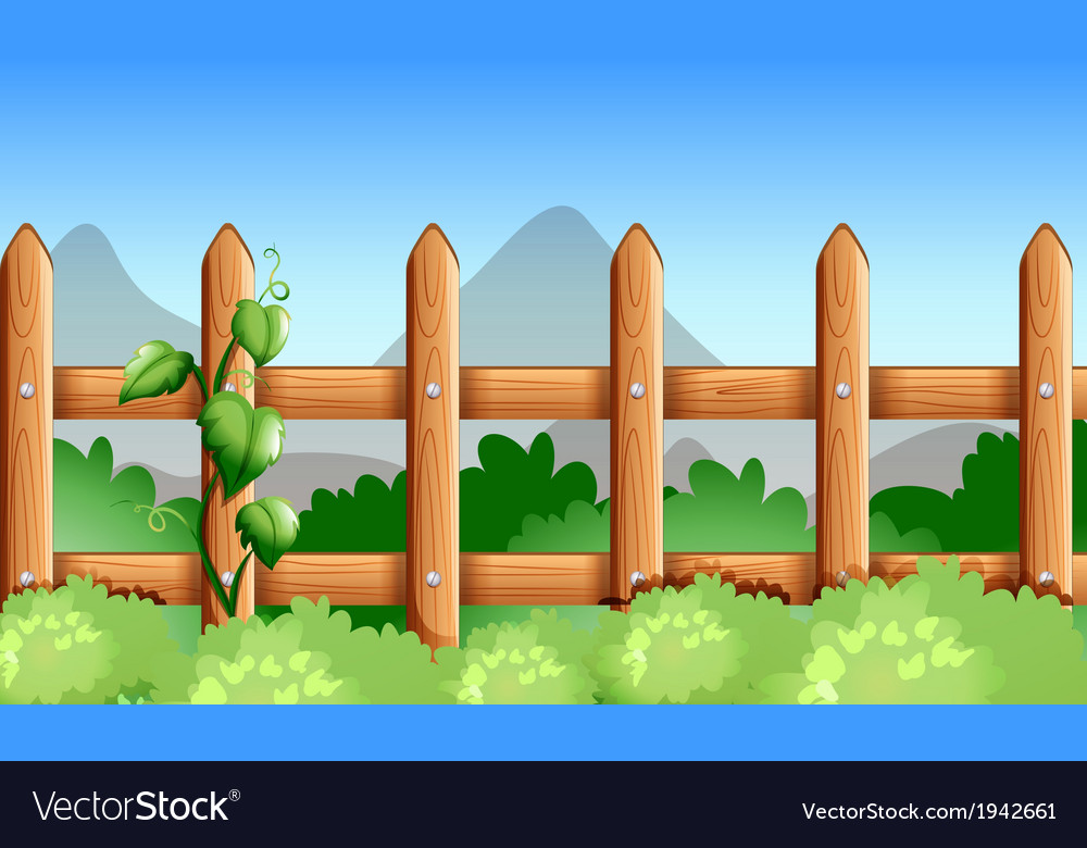 A wooden fence with green plants vector | Price: 1 Credit (USD $1)