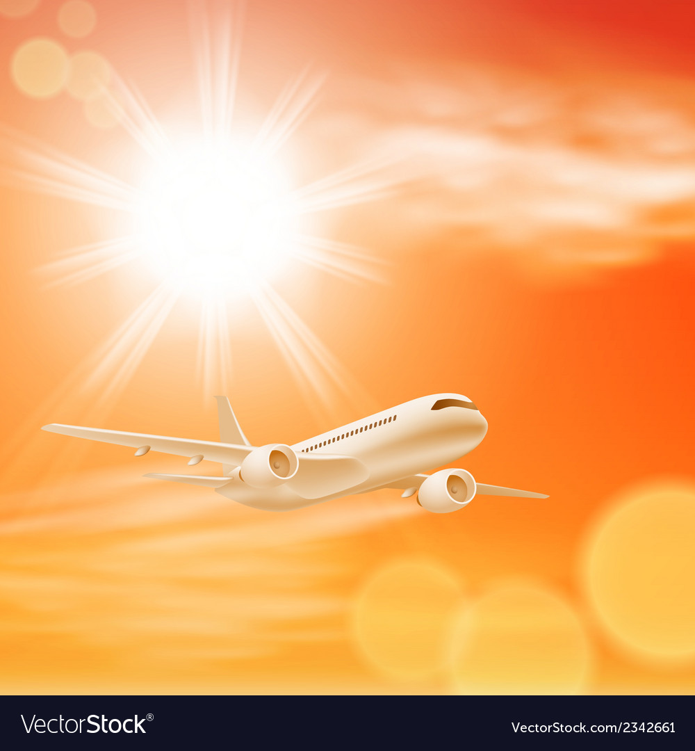 Airplane in the sky with sun in sunset time vector | Price: 1 Credit (USD $1)