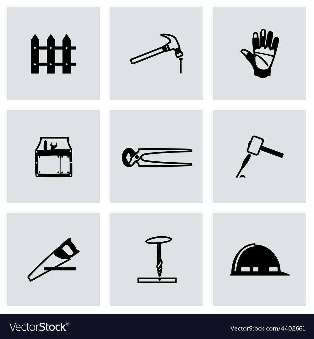 Carpentry icon set vector | Price: 1 Credit (USD $1)